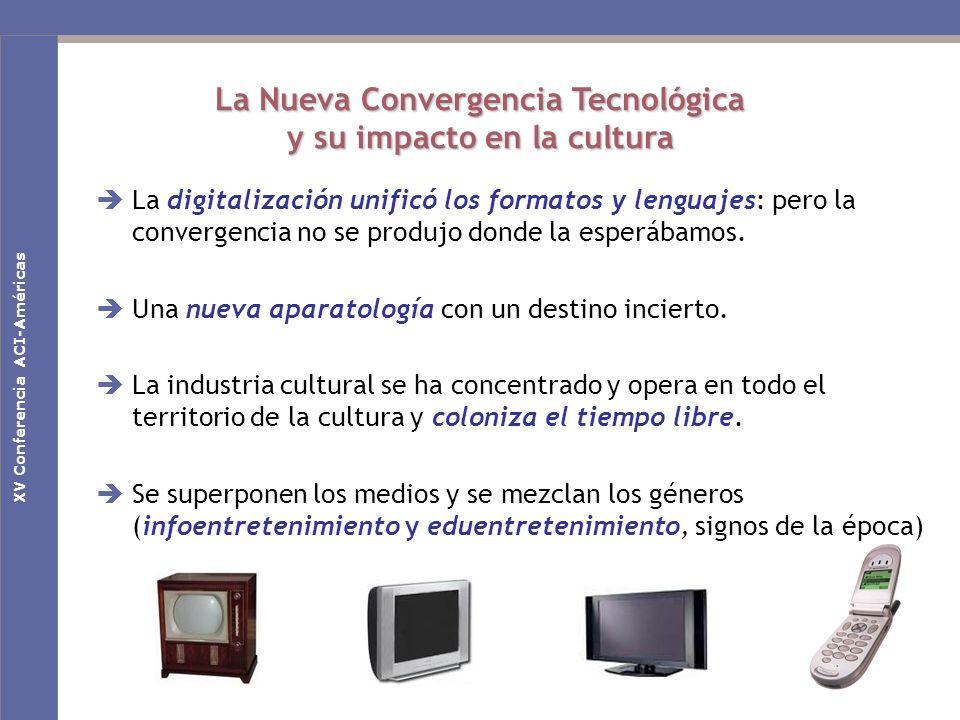 Nuevas claves culturales en la Sociedad de la Comunicación La Nueva Convergencia Tecnológica y su impacto en la cultura La digitalización unificó los formatos y lenguajes: pero la convergencia no se produjo donde la esperábamos.