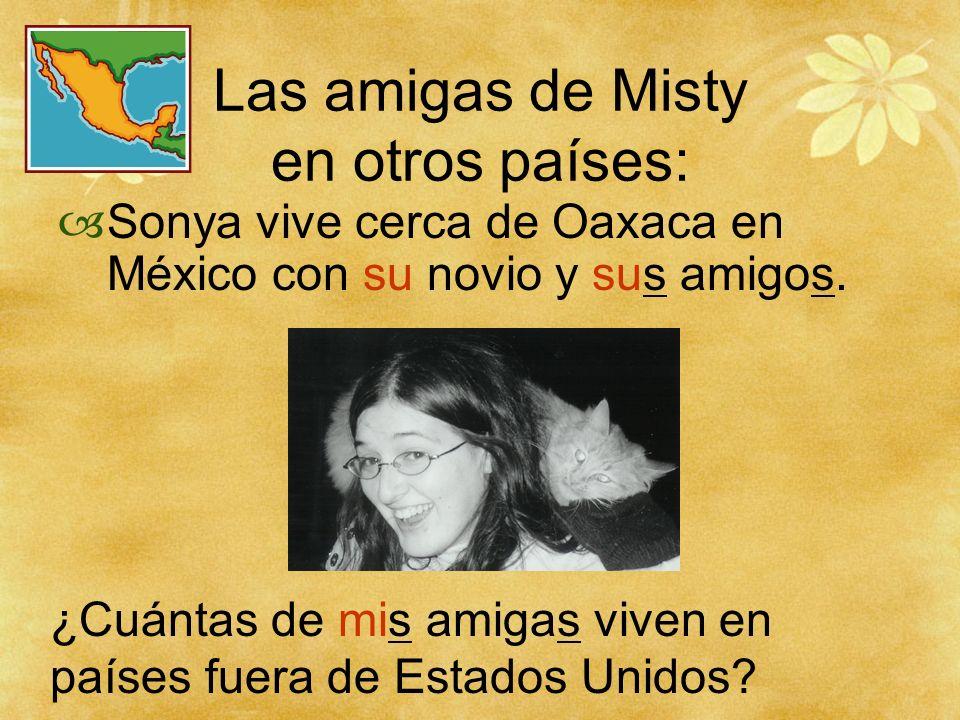 Las amigas de Misty en otros países: Sonya vive cerca de Oaxaca en México con su novio y sus amigos. ¿Cuántas de mis amigas viven en países fuera de E