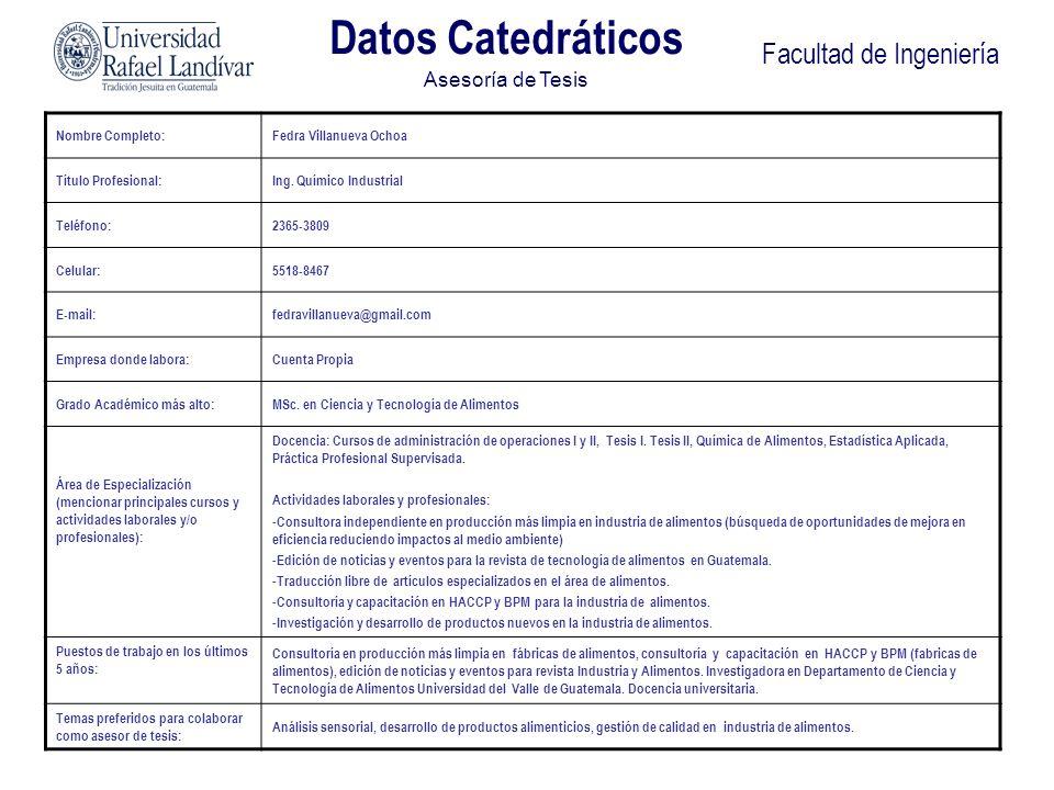 Datos Catedráticos Asesoría de Tesis Facultad de Ingeniería Nombre Completo:Fedra Villanueva Ochoa Título Profesional:Ing. Químico Industrial Teléfono