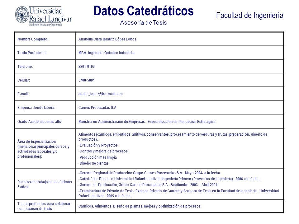 Facultad de Ingeniería Datos Catedráticos Asesoría de Tesis Nombre Completo:Anabella Clara Beatriz López Lobos Título Profesional:MBA. Ingeniero Qu í