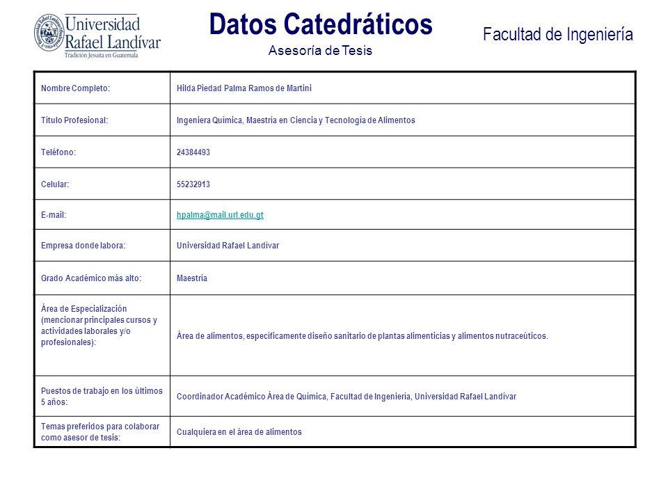Facultad de Ingeniería Datos Catedráticos Asesoría de Tesis Nombre Completo:Hilda Piedad Palma Ramos de Martini Título Profesional:Ingeniera Química,