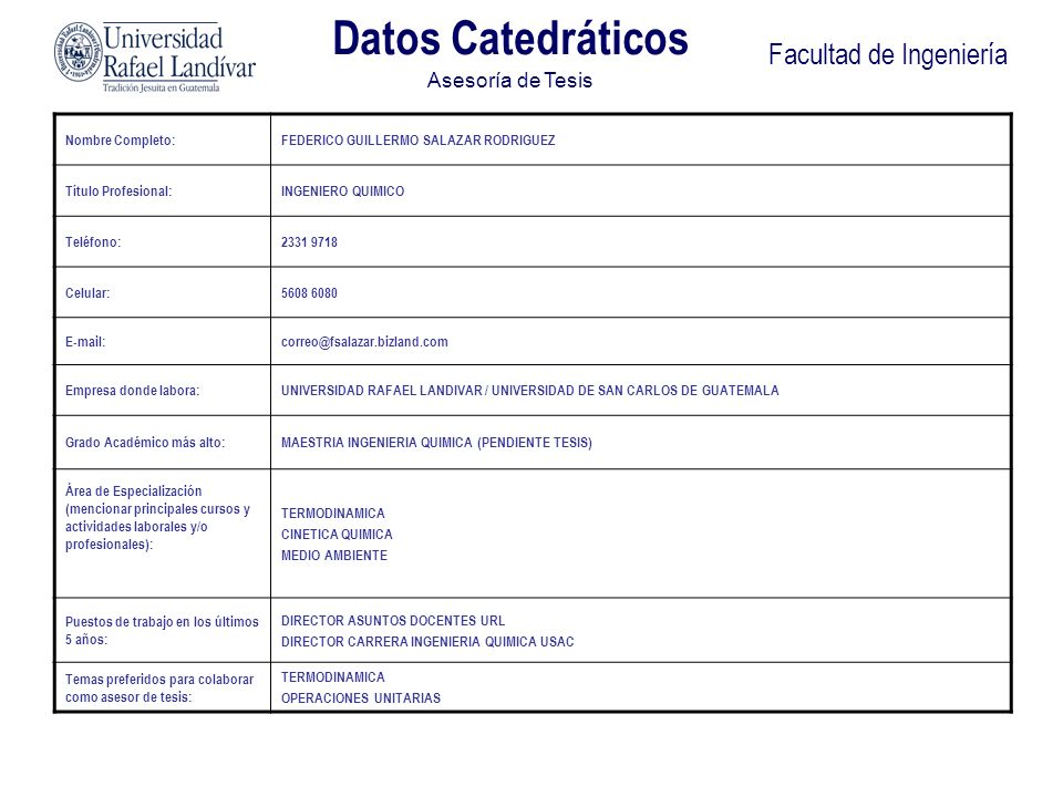 Facultad de Ingeniería Datos Catedráticos Asesoría de Tesis Nombre Completo:FEDERICO GUILLERMO SALAZAR RODRIGUEZ Título Profesional:INGENIERO QUIMICO