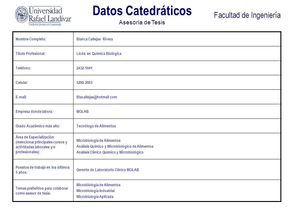 Facultad de Ingeniería Nombre Completo:Ana Silvia Colmenares Samayoa de Ruiz Título Profesional:Lic en Química MSc en Ciencia y Tecnología de Alimentos Teléfono:2364-1444 Celular:5602-9964 E-mail:asderuiz@yahoo.com Empresa donde labora:Universidad del Valle de Guatemala Grado Académico más alto:Maestría Área de Especialización (mencionar principales cursos y actividades laborales y/o profesionales): -Evaluación Sensorial de Alimentos -Análisis Químico y Nutricional de Alimentos -Desarrollo de Nuevos Productos -Aditivos Puestos de trabajo en los últimos 5 años: Investigadora del Centro de Ciencia y Tecnología de Alimentos Temas preferidos para colaborar como asesor de tesis: -Valor Nutricional de Alimentos -Desarrollo de Nuevos Productos Datos Catedráticos Asesoría de Tesis