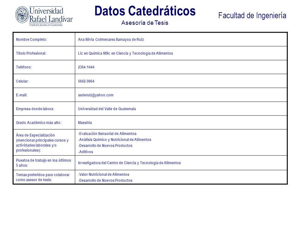 Facultad de Ingeniería Datos Catedráticos Asesoría de Tesis Nombre Completo:Hilda Piedad Palma Ramos de Martini Título Profesional:Ingeniera Química, Maestría en Ciencia y Tecnología de Alimentos Teléfono:24384493 Celular:55232913 E-mail:hpalma@mail.url.edu.gt Empresa donde labora:Universidad Rafael Landívar Grado Académico más alto:Maestría Área de Especialización (mencionar principales cursos y actividades laborales y/o profesionales): Área de alimentos, específicamente diseño sanitario de plantas alimenticias y alimentos nutraceúticos.