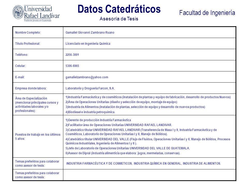 Facultad de Ingeniería Nombre Completo:Gamaliel Giovanni Zambrano Ruano Título Profesional:Licenciado en Ingeniería Química Teléfono:2256-3001 Celular