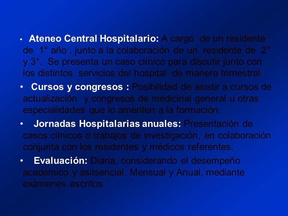 Ateneo Central Hospitalario: A cargo de un residente de 1° año, junto a la colaboración de un residente de 2° y 3°.