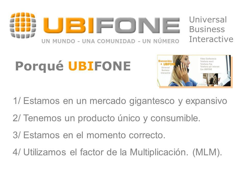 Universal Business Interactive UN MUNDO - UNA COMUNIDAD - UN NÚMERO 1/ Estamos en un mercado gigantesco y expansivo 2/ Tenemos un producto único y consumible.