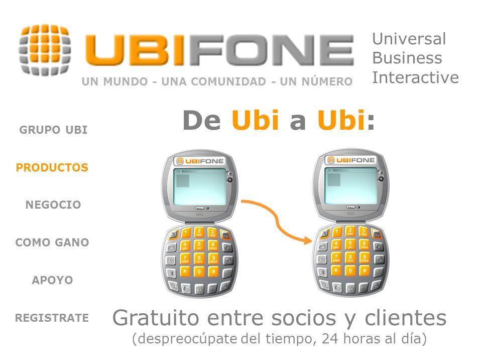 GRUPO UBI PRODUCTOS NEGOCIO COMO GANO APOYO REGISTRATE Gratuito entre socios y clientes (despreocúpate del tiempo, 24 horas al día) UN MUNDO - UNA COMUNIDAD - UN NÚMERO Universal Business Interactive De Ubi a Ubi: