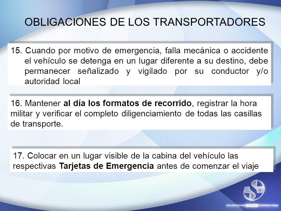 15. Cuando por motivo de emergencia, falla mecánica o accidente el vehículo se detenga en un lugar diferente a su destino, debe permanecer señalizado