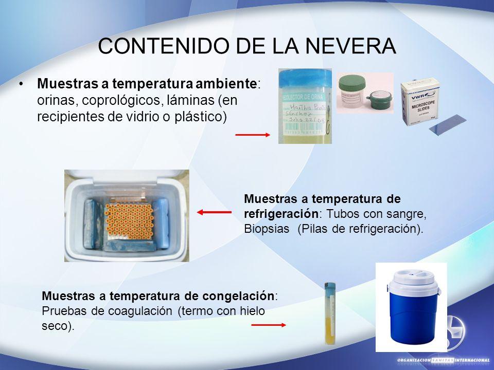 CONTENIDO DE LA NEVERA Muestras a temperatura ambiente: orinas, coprológicos, láminas (en recipientes de vidrio o plástico) Muestras a temperatura de