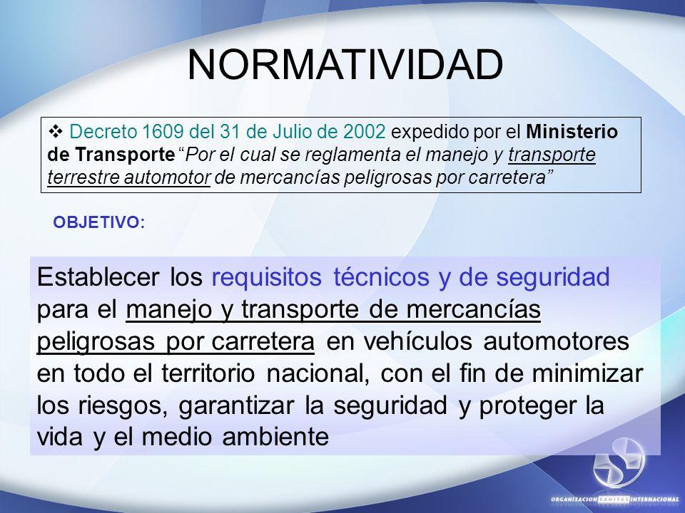 NORMATIVIDAD Decreto 1609 del 31 de Julio de 2002 expedido por el Ministerio de Transporte Por el cual se reglamenta el manejo y transporte terrestre