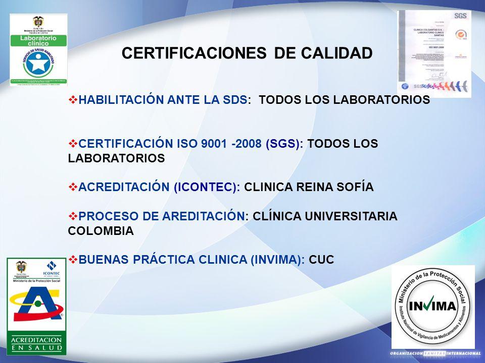 CERTIFICACIONES DE CALIDAD HABILITACIÓN ANTE LA SDS: TODOS LOS LABORATORIOS CERTIFICACIÓN ISO 9001 -2008 (SGS): TODOS LOS LABORATORIOS ACREDITACIÓN (I