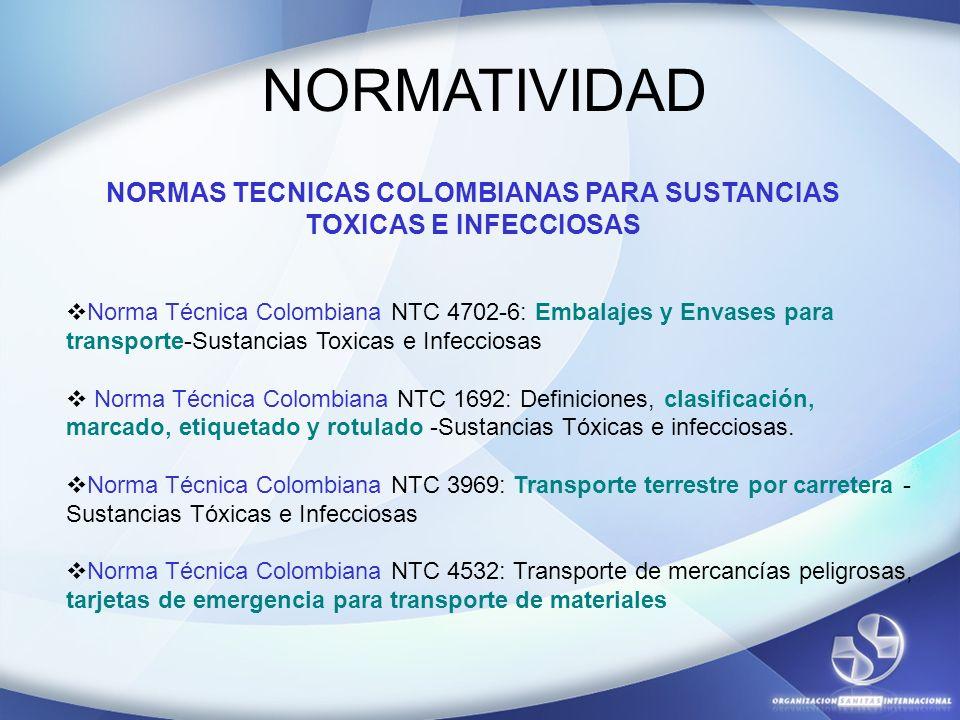 NORMATIVIDAD Norma Técnica Colombiana NTC 4702-6: Embalajes y Envases para transporte-Sustancias Toxicas e Infecciosas Norma Técnica Colombiana NTC 16