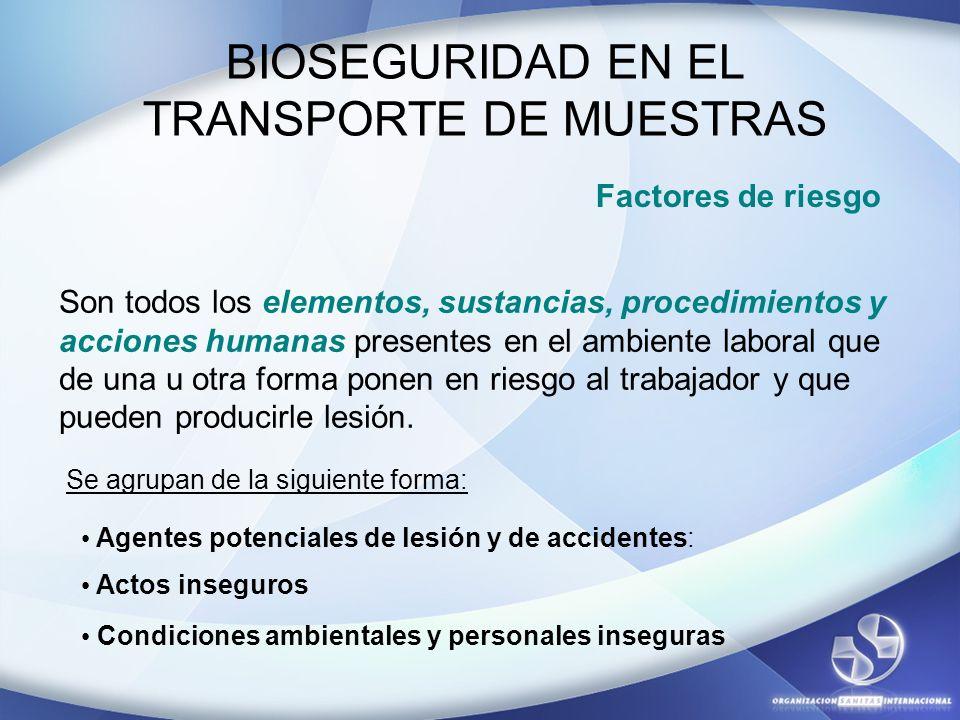 BIOSEGURIDAD EN EL TRANSPORTE DE MUESTRAS Factores de riesgo Son todos los elementos, sustancias, procedimientos y acciones humanas presentes en el am