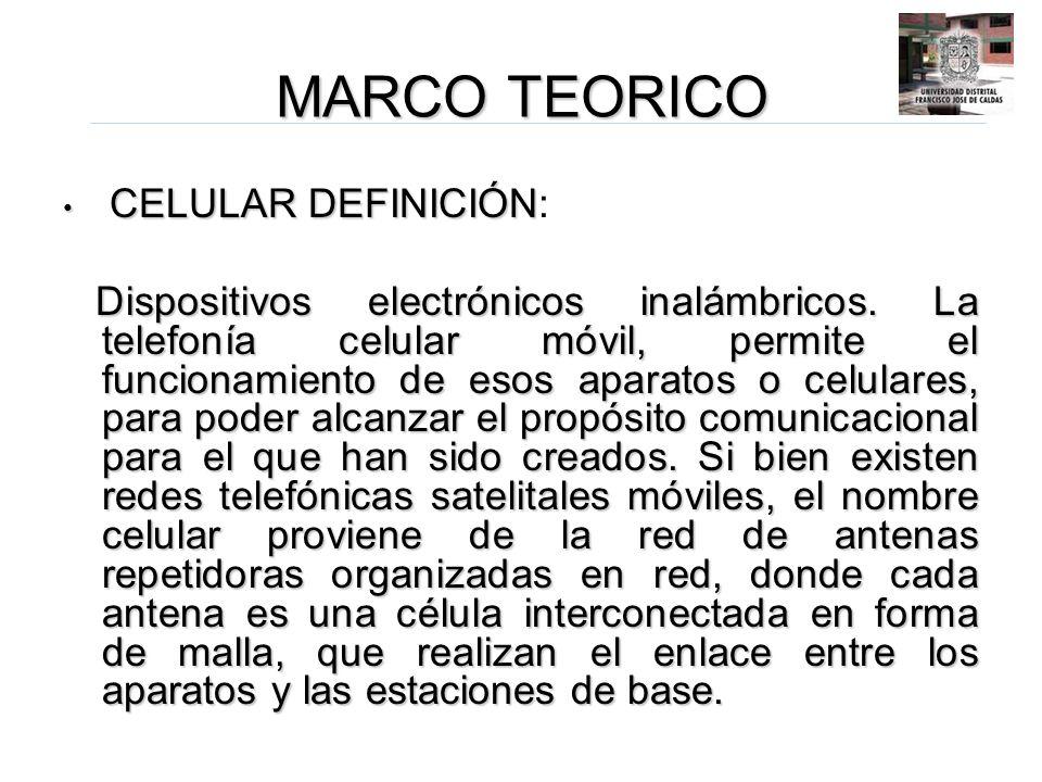 MARCO TEORICO CELULAR DEFINICIÓN CELULAR DEFINICIÓN: Dispositivos electrónicos inalámbricos. La telefonía celular móvil, permite el funcionamiento de