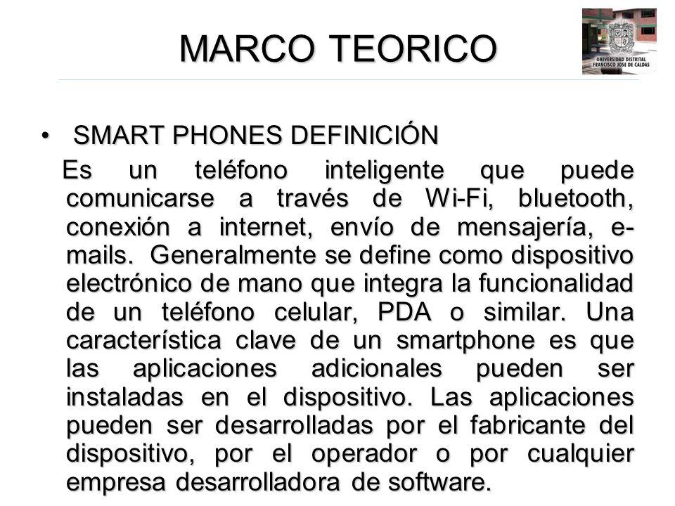 MARCO TEORICO SMART PHONES DEFINICIÓN SMART PHONES DEFINICIÓN Es un teléfono inteligente que puede comunicarse a través de Wi-Fi, bluetooth, conexión