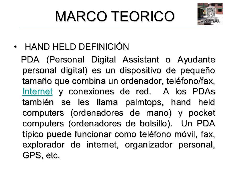 MARCO TEORICO HAND HELD DEFINICIÓN HAND HELD DEFINICIÓN PDA (Personal Digital Assistant o Ayudante personal digital) es un dispositivo de pequeño tama