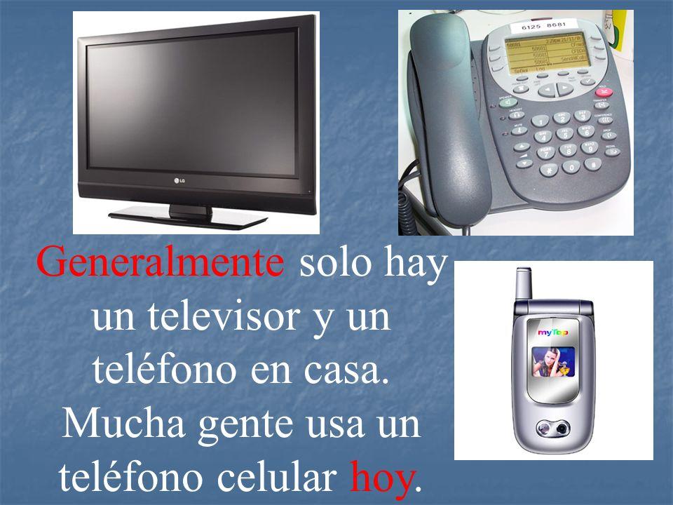 Generalmente solo hay un televisor y un teléfono en casa. Mucha gente usa un teléfono celular hoy..