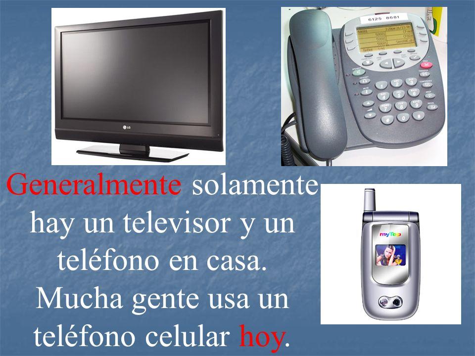 Generalmente solamente hay un televisor y un teléfono en casa. Mucha gente usa un teléfono celular hoy.