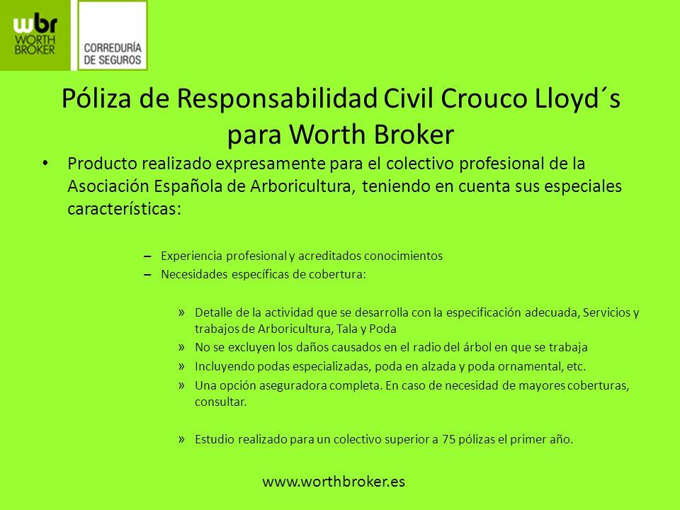 Póliza de Responsabilidad Civil Crouco Lloyd´s para Worth Broker Producto realizado expresamente para el colectivo profesional de la Asociación Españo