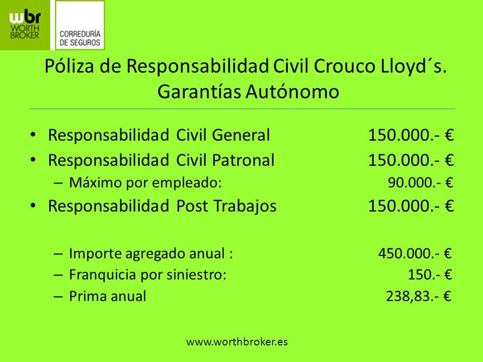 Póliza de Responsabilidad Civil Crouco Lloyd´s. Garantías Autónomo Responsabilidad Civil General150.000.- Responsabilidad Civil Patronal150.000.- – Má
