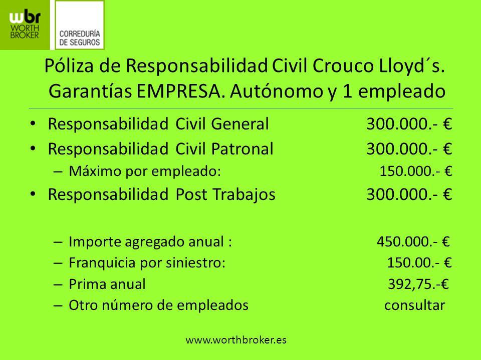 Responsabilidad Civil Crouco Lloyd´s.VENTAJAS Experiencia probada en el sector.
