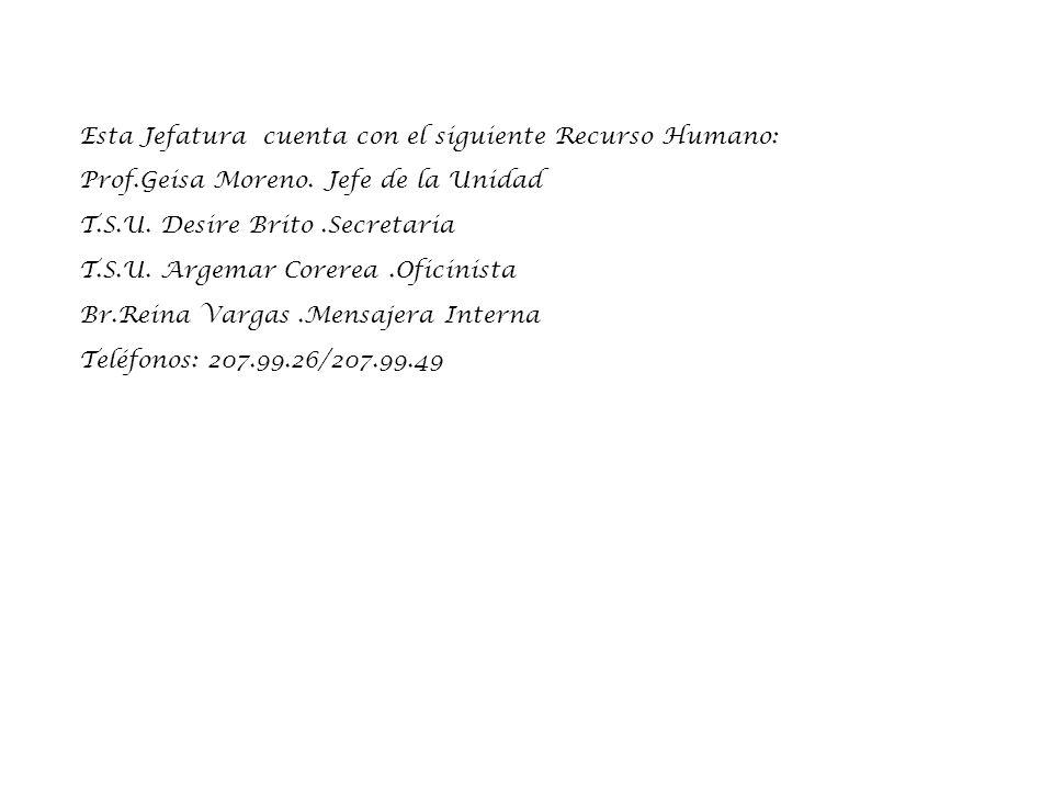 Esta Jefatura cuenta con el siguiente Recurso Humano: Prof.Geisa Moreno.