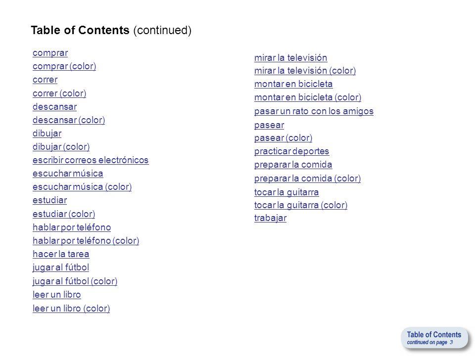 Table of Contents (continued) hacer la tarea hablar por teléfono estudiar leer un libro jugar al fútbol mirar la televisión escuchar música pasear pas