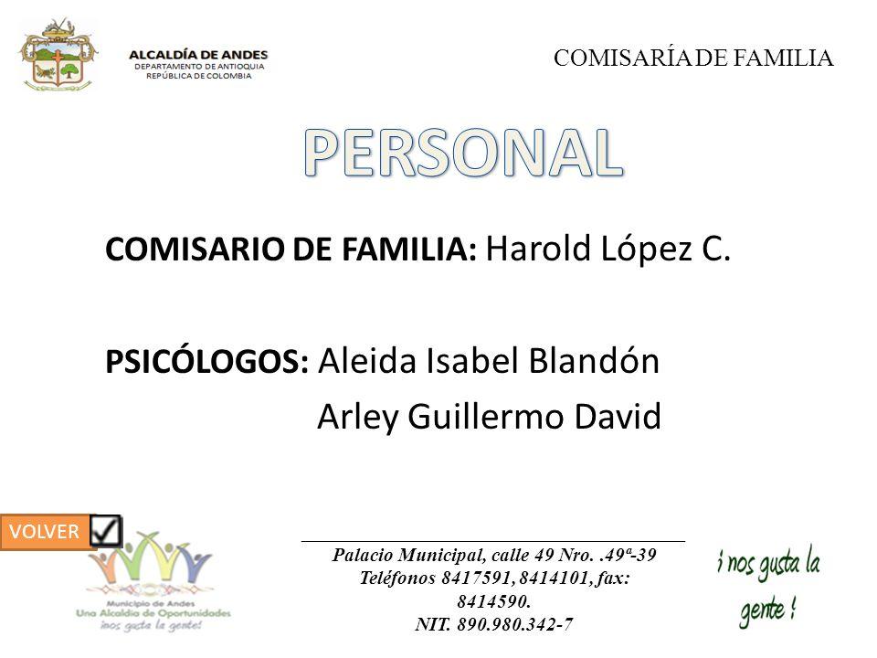 COMISARIO DE FAMILIA: Harold López C. PSICÓLOGOS: Aleida Isabel Blandón Arley Guillermo David COMISARÍA DE FAMILIA Palacio Municipal, calle 49 Nro..49