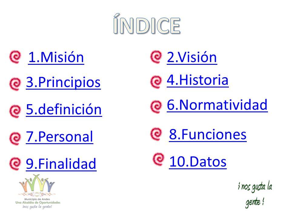 7.Personal 4.Historia 6.Normatividad 2.Visión 3.Principios 8.Funciones 1.Misión 9.Finalidad 10.Datos 5.definición