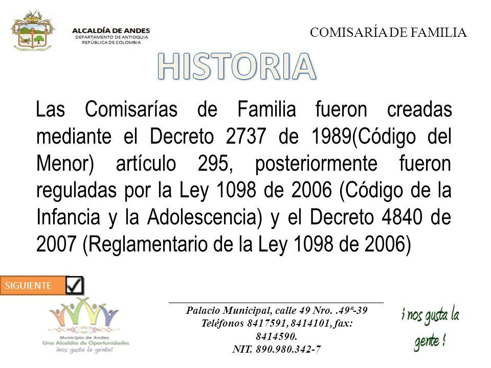 Las Comisarías de Familia fueron creadas mediante el Decreto 2737 de 1989(Código del Menor) artículo 295, posteriormente fueron reguladas por la Ley 1