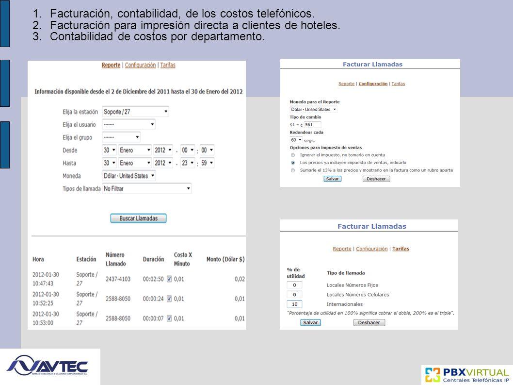1.Facturación, contabilidad, de los costos telefónicos.