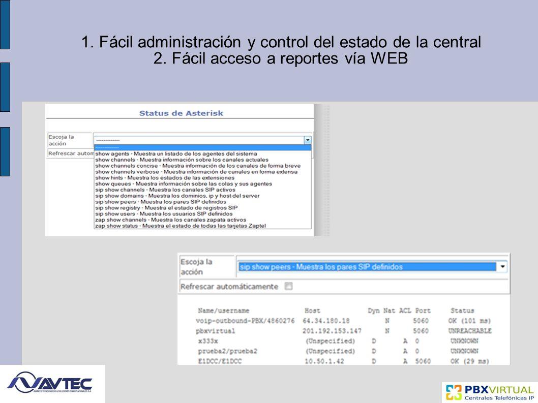 1.Fácil administración y control del estado de la central 2.Fácil acceso a reportes vía WEB