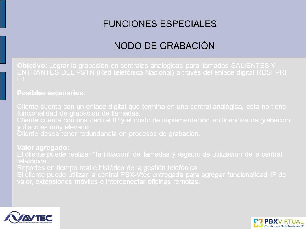 FUNCIONES ESPECIALES NODO DE GRABACIÓN Objetivo: Lograr la grabación en centrales analógicas para llamadas SALIENTES Y ENTRANTES DEL PSTN (Red telefónica Nacional) a través del enlace digital RDSI PRI E1.