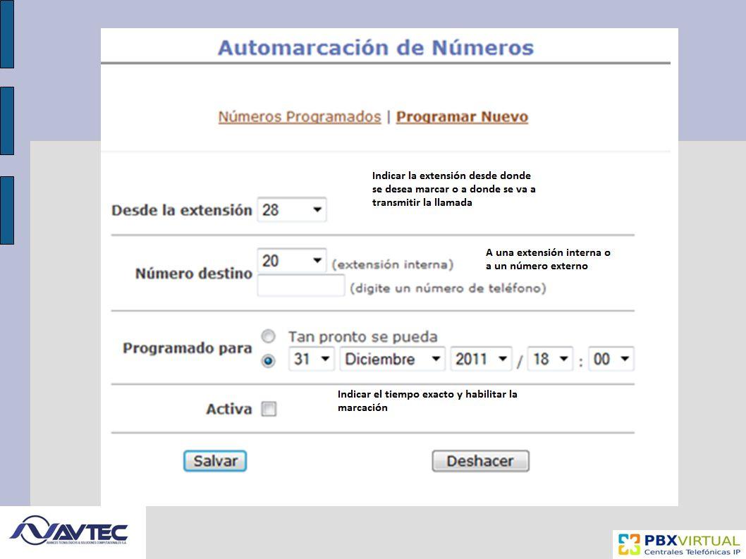 Pantalla de estado de los casilleros de Voz, permite verificar el estado, la cantidad de mensajes en espera y el nivel de configuración