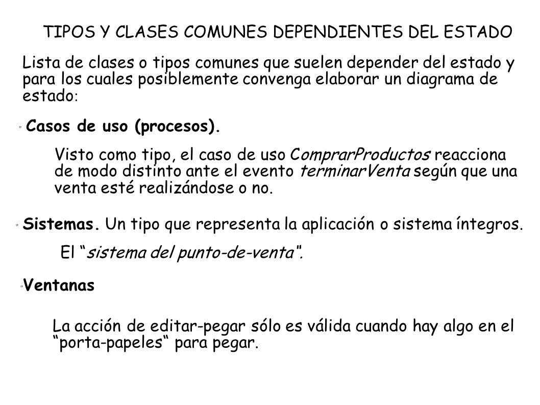 TIPOS Y CLASES COMUNES DEPENDIENTES DEL ESTADO Lista de clases o tipos comunes que suelen depender del estado y para los cuales posiblemente convenga
