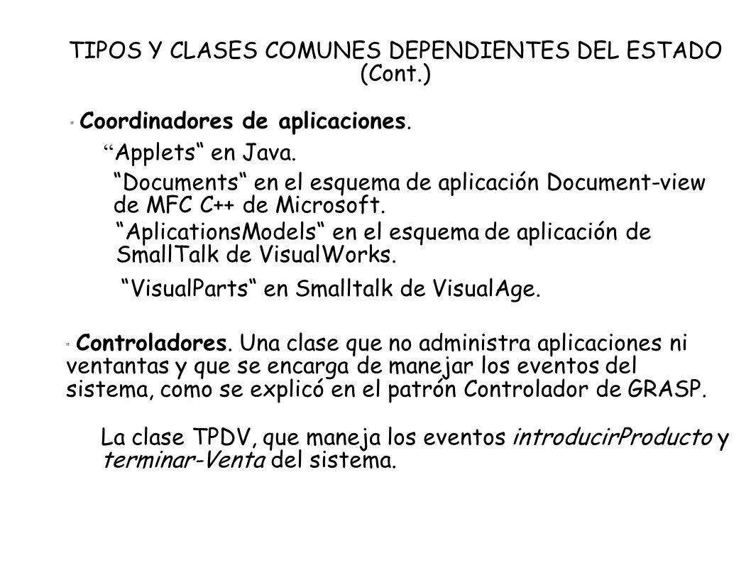 TIPOS Y CLASES COMUNES DEPENDIENTES DEL ESTADO (Cont.) Coordinadores de aplicaciones. Applets en Java. Documents en el esquema de aplicación Document-
