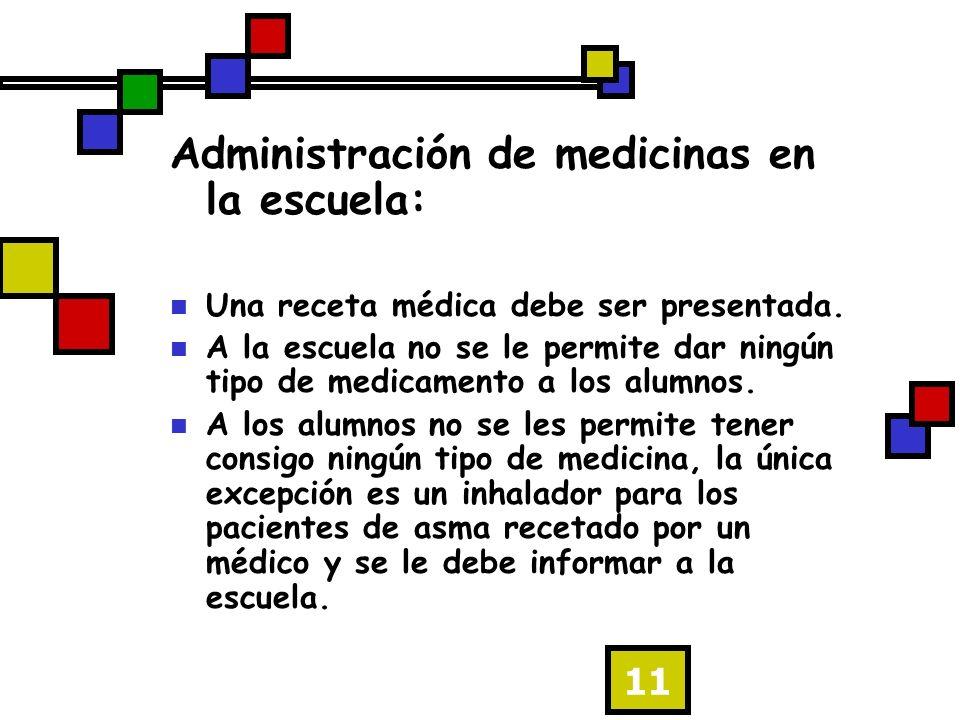 11 Administración de medicinas en la escuela: Una receta médica debe ser presentada.