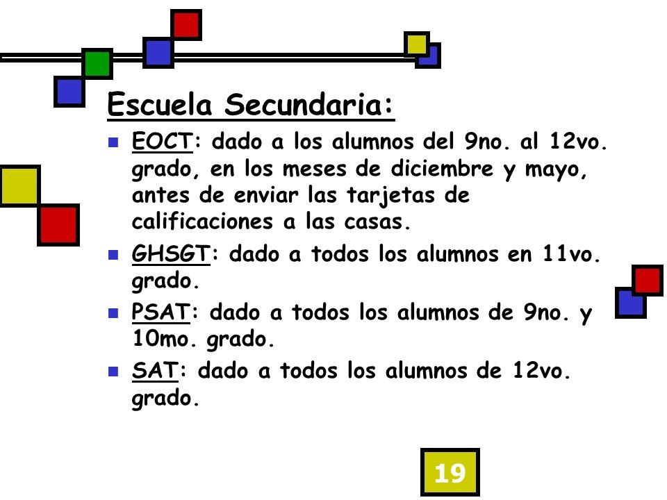 19 Escuela Secundaria: EOCT: dado a los alumnos del 9no.