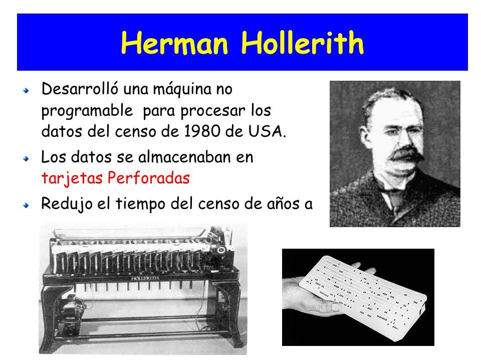 Herman Hollerith Desarrolló una máquina no programable para procesar los datos del censo de 1980 de USA. Los datos se almacenaban en tarjetas Perforad