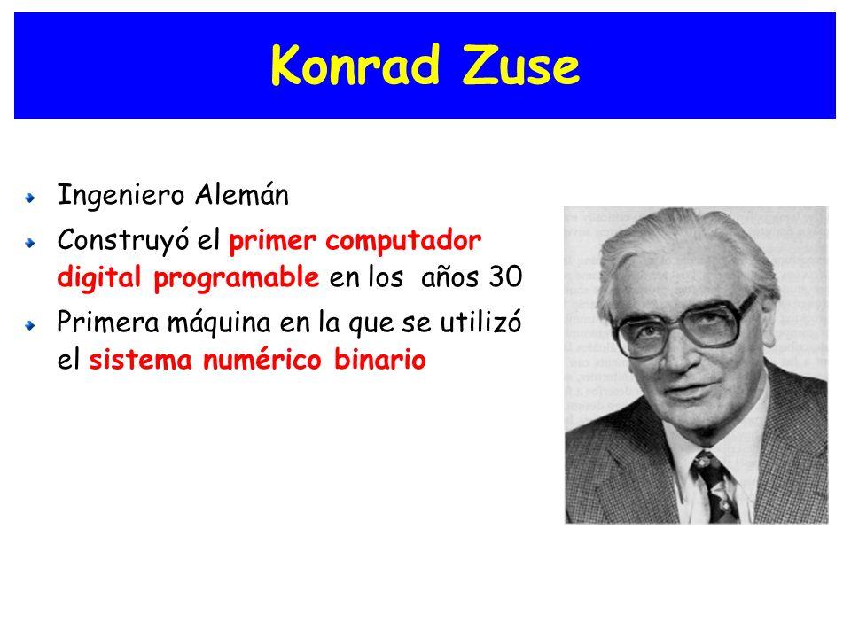Konrad Zuse Ingeniero Alemán Construyó el primer computador digital programable en los años 30 Primera máquina en la que se utilizó el sistema numéric