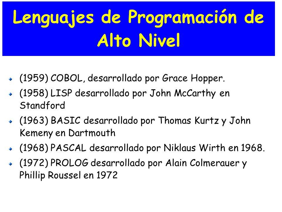 Lenguajes de Programación de Alto Nivel (1959) COBOL, desarrollado por Grace Hopper. (1958) LISP desarrollado por John McCarthy en Standford (1963) BA