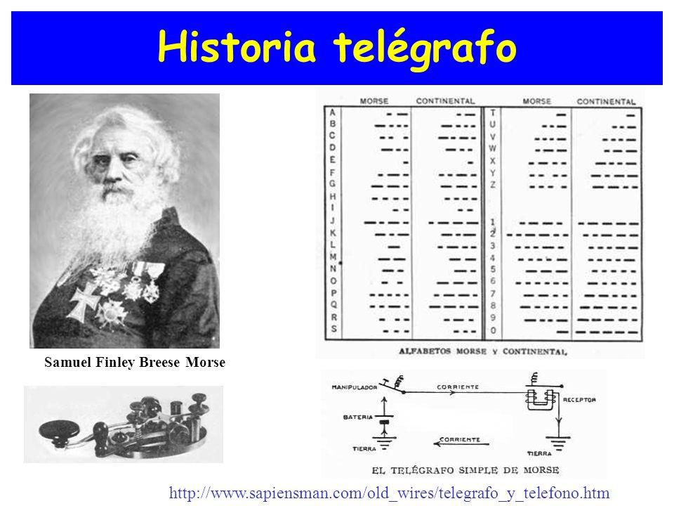 Historia telégrafo Samuel Finley Breese Morse http://www.sapiensman.com/old_wires/telegrafo_y_telefono.htm