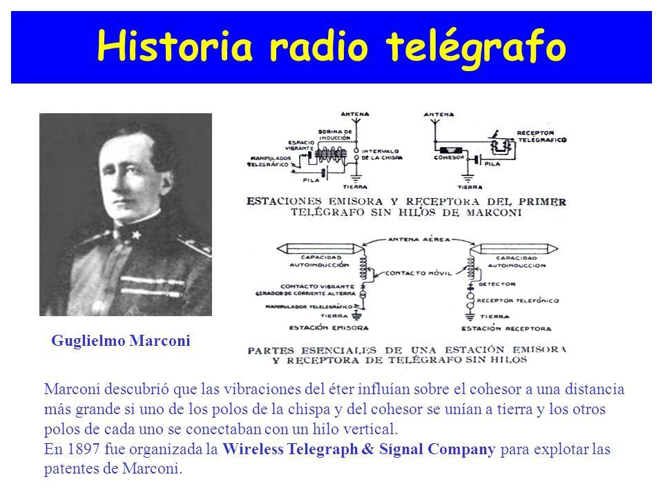 Historia radio telégrafo Guglielmo Marconi Marconi descubrió que las vibraciones del éter influían sobre el cohesor a una distancia más grande si uno
