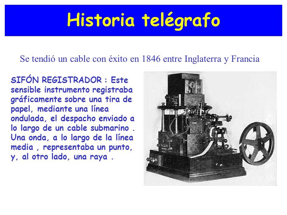Historia telégrafo SIFÓN REGISTRADOR : Este sensible instrumento registraba gráficamente sobre una tira de papel, mediante una línea ondulada, el desp