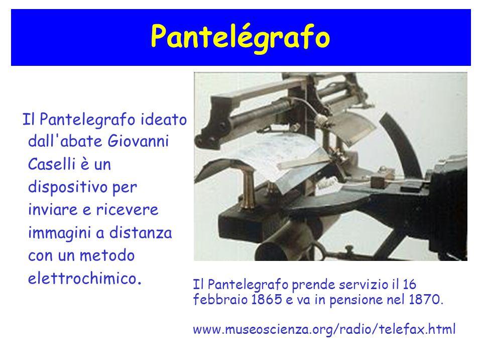 Pantelégrafo Il Pantelegrafo ideato dall'abate Giovanni Caselli è un dispositivo per inviare e ricevere immagini a distanza con un metodo elettrochimi