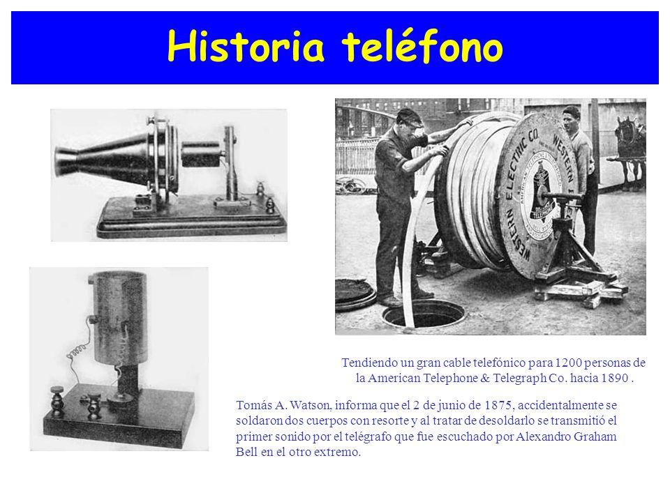 Historia teléfono Tendiendo un gran cable telefónico para 1200 personas de la American Telephone & Telegraph Co. hacia 1890. Tomás A. Watson, informa