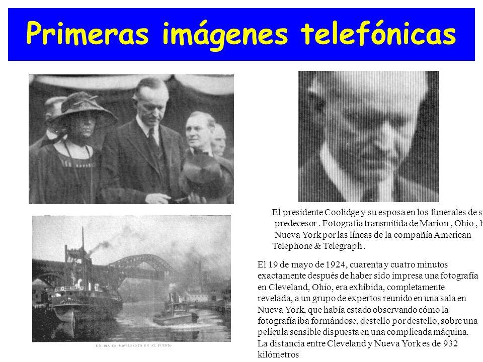 Primeras imágenes telefónicas Computad or personal El presidente Coolidge y su esposa en los funerales de su predecesor. Fotografía transmitida de Mar