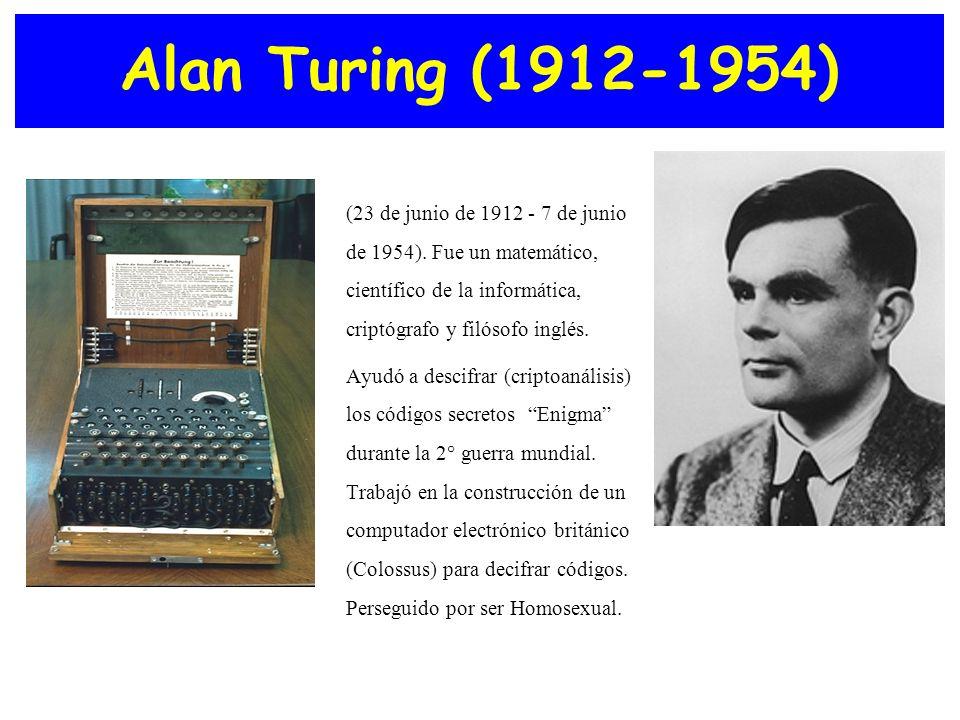 Alan Turing (1912-1954) (23 de junio de 1912 - 7 de junio de 1954). Fue un matemático, científico de la informática, criptógrafo y filósofo inglés. Ay