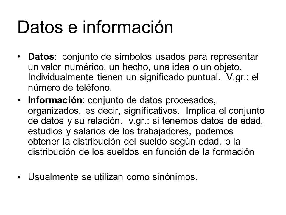 Datos e información Datos: conjunto de símbolos usados para representar un valor numérico, un hecho, una idea o un objeto. Individualmente tienen un s